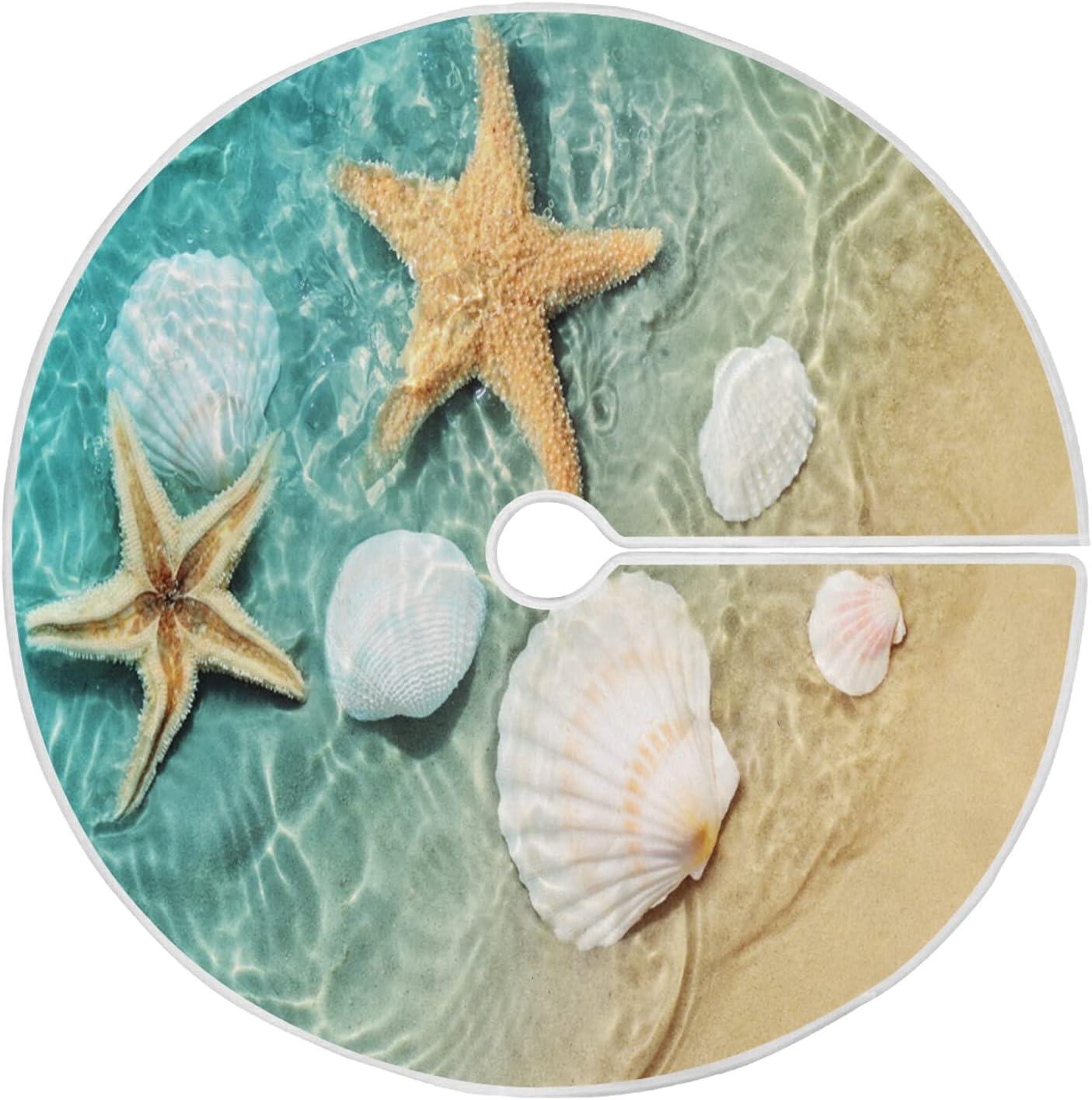 Starfish Christmas Tree Special sale item Skirt 48 Inch Xmas Mat Spasm price Seashell Su