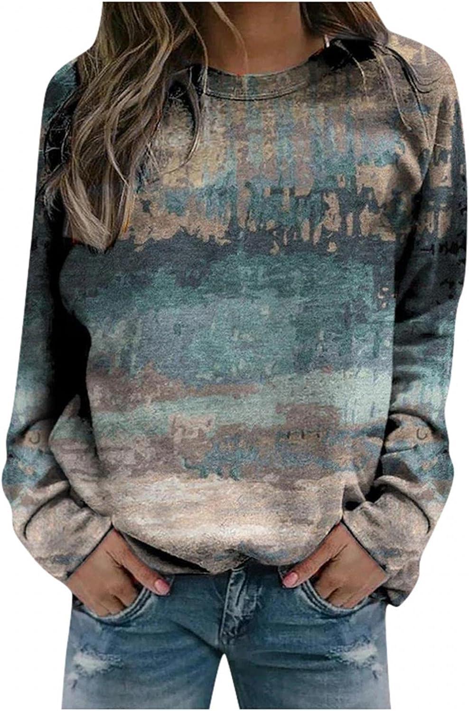 POLLYANNA KEONG Womens Long Sleeve Tops for Women,Women Vintage Sweatshirt Long Sleeve Loose Tunic Tops Blouses
