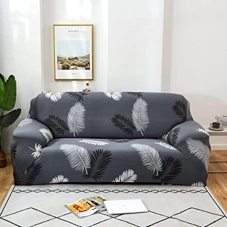 Tony Stark Spandex & Polyester Fabric | Super Stretchable | Flexible| Non-Slip| Big Elasticity| Perfect Size Sofa Cover Slipcover- 185-230cm Dark Grey Fern, Three-Seater (Cushion Cover not Included)