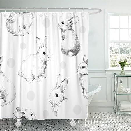 Amazon Com Cute Bunny Rabbit Shower Curtain Bathroom Curtains Sets With Hooks Shower Bath Curtain For Bathroom Polyester Bathroom Shower Curtain Kitchen Dining