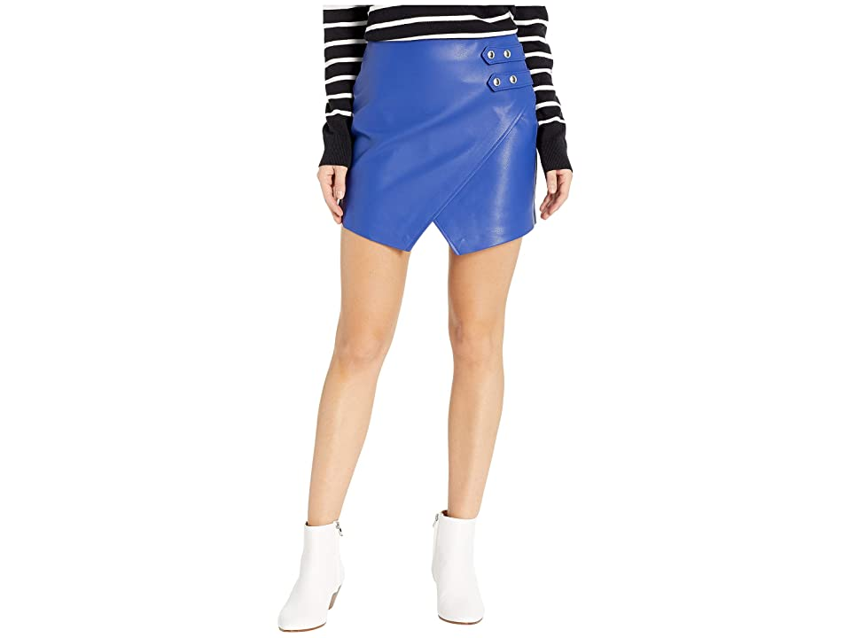 Blank NYC Vegan Leather Mini Skirt w/ Side Buckle (Blue My Mind) Women
