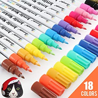 [18 Colors] Acrylic Paint Pens, Permanent Paint Markers Set Kit for Rock Painting,Glass,Stone,Wood,Fabric,Metal,Ceramic,Rock DIY Crafts,Water Based,Acid Free Non Toxic,Quick-Dry