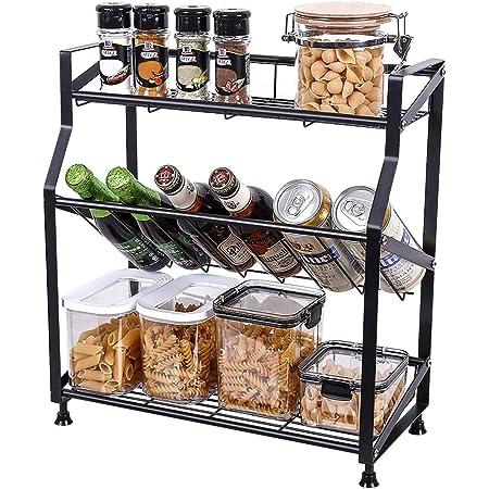 SVOHZAV 調味料ラック spice rack スパイスラック 斜め置き 調味料棚 キッチンラック 調味調収納 大容量 シンクサイドラック 省スペース 組み立てが簡単 ブラック 3段