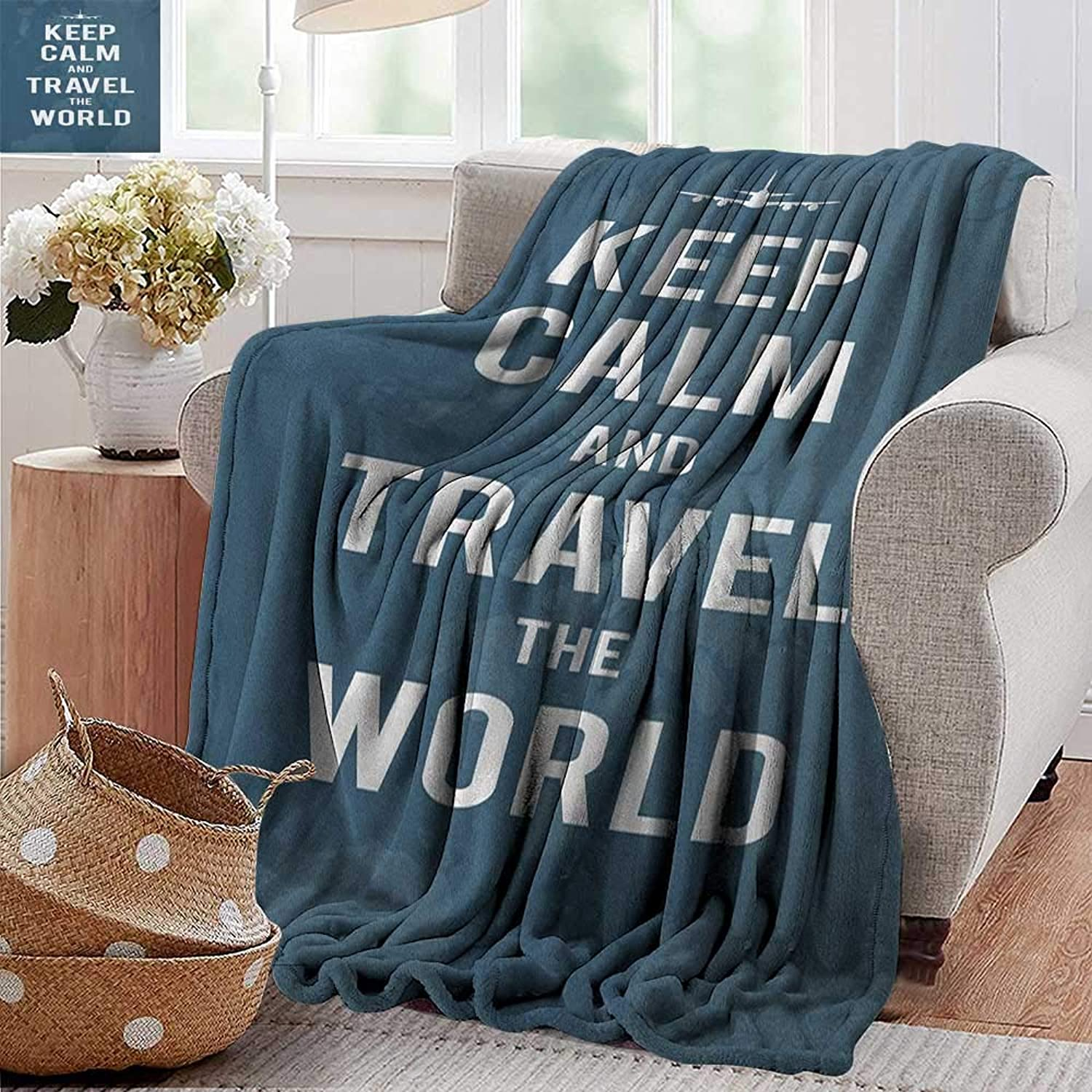Weighted Blanket for Kids,Keep Calm,Travel The World Quote on a Faded Map of United Kingdom and a Plane Silhouette, bluee White,Weighted Blanket for Adults Kids, Better Deeper Sleep 50 x70