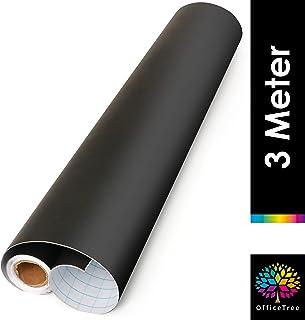 OfficeTree  Lámina negra de pizarra, rollo de 300 cm - autoadhesivo - 43 cm de ancho - Escriba, dibuje y pinte con tiza - Diseño interior DIY decoración presentación - (1 rollo)