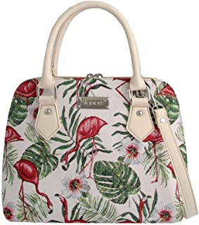 Flamingo Pink and Green Ladies Fashion Canvas Tapestry Top Handle Handbag with Detachable Strap to Convert to Shoulder Bag by Signare (CONV-FLAM)