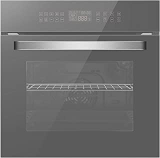 Empava KQB65C-17-220V Electric Convection Single Wall Oven 10 Cooking Functions Deluxe 360° ROTISSERIE with Sensitive Touch Control in Silver Mirror Glass 24 Inch, WOB17