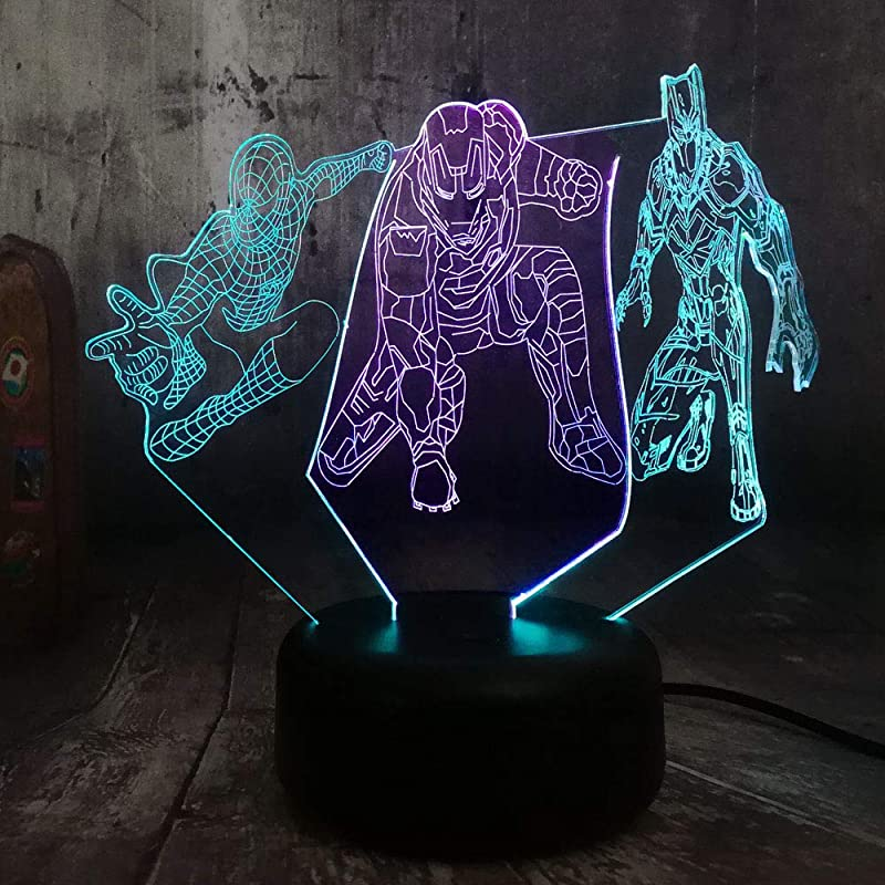 Movie Marvel Comics Mixed Dual Color 3D Lamp Spiderman Iron Man Black Panther Night Light Boys Bedroom Decoration Solution For Nightmares Marvel Superhero Kids Toys
