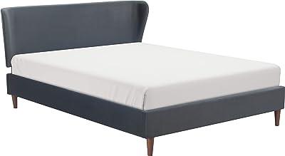 Amazon.com: Crown Mark Upholstered Panel Bed in Black, Queen ...