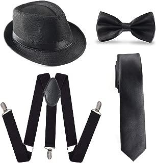 1920s accesorio para hombre conjunto sombrero de Manhattan, tirantes Y-Back, Gangster Tie y corbata pre atado