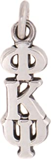 Phi Kappa Psi Fraternity Letter Sterling Silver or 14k Gold Lavalier Necklace with Chain (Silver)