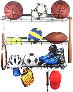 Kinghouse Sports Equipment Storage,  Sports Ball Storage Rack with 3 Baskets and 4 Hooks,  Ball Rack for Garage,  Garage Ball Storage,  Sports Gear Storage,  Black,  Steel,  Wall Mount
