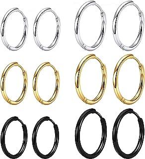 NEWITIN 6 Pairs Small Hoop Earrings 316L Surgical Stainless Steel Earrings Hypoallergenic Earrings Huggie Earrings Cartila...