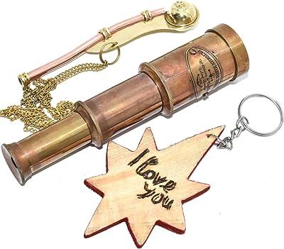 Necklace Style Lot 10 Brass Telescope Keychain Keyring Pendant Maritime Gift