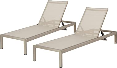 Christopher Knight Home 296862 Outdoor Aluminum Chaise Lounge, Set of 2, Grey