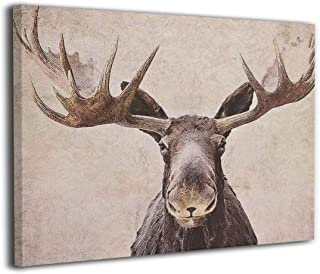Kingsleyton Brown Bull Moose Antlers Woodland Nature Nursery Animals Wall Art Painting The Picture Print On Canvas Pictures for Home Decor Decoration Gift Stretched by Wooden Frame Ready to Hang 16x20