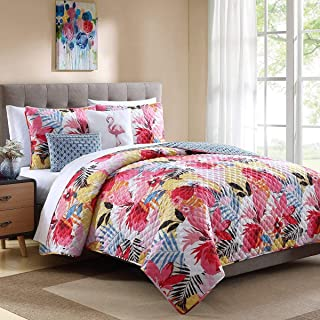 Ellison First Asia 18511704BW-MUL Lanai Quilt Set44; Pink - King Size44; 5 Piece