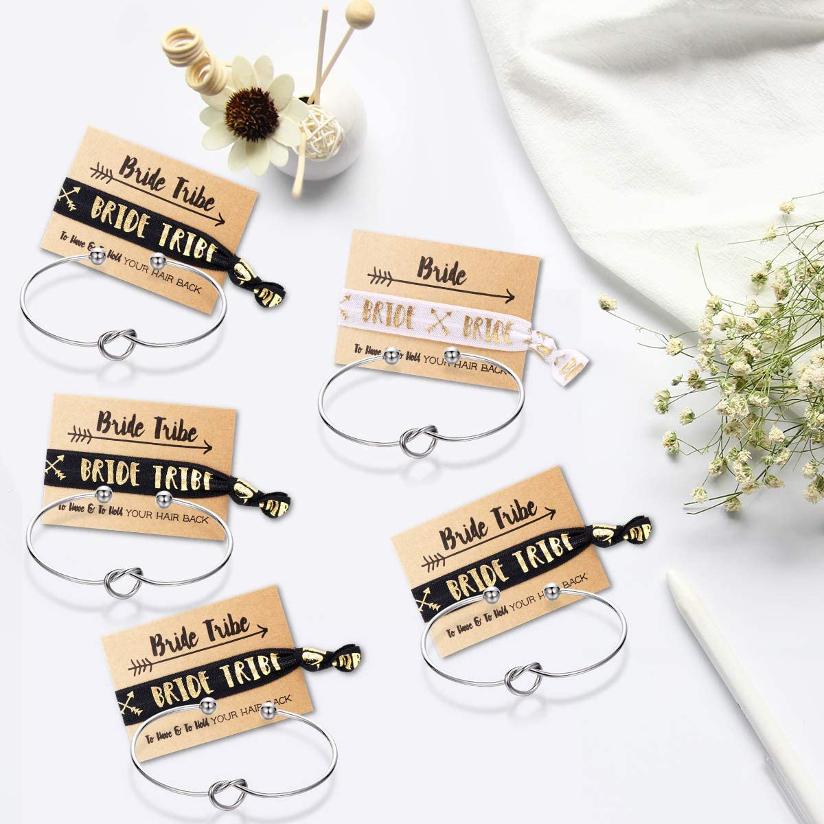Bridesmaid bracelets-Ikooo 5 pcs Love Knot Open Bangle With Bride Tribe Hair tie for Best Friend BFF of the Bride wedding Gift