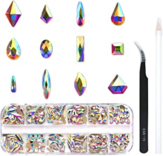 240 Piece Multi Shapes Glass Crystal AB Rhinestones For Nails Art 3D Decorations, Mix 12 Styles FlatBack Nail Crystals Gem...