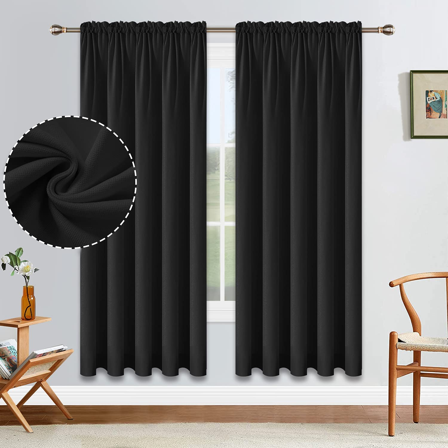 security ALLJOY Black Blackout Curtains 72 Inch 2 R Inventory cleanup selling sale Panels Set Length of