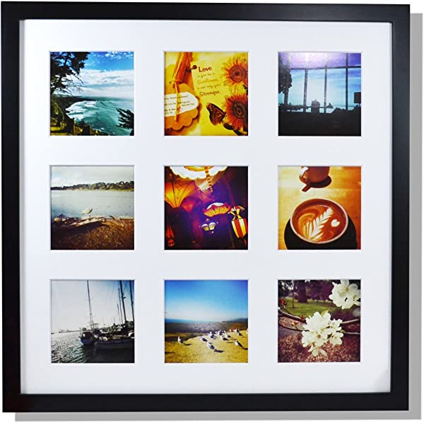Golden State Art Smartphone Instagram Frame Collection 16x16 Inch Square Photo Wood Frames For 9 4x4 Inch Pictures With Real Glass Black