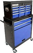 AREBOS Carro de herramientas con ruedas | 8 compartimentos + gran compartimento para tus herramientas | azul y negro | alf...