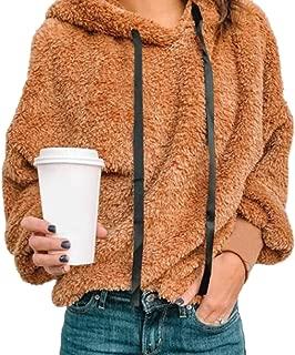Womens Fleece Long Sleeve Drawstring Fuzzy Hoodie Sweatshirt Pullover Sweater Outwears