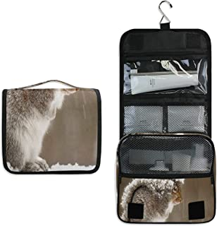 Hanging Toiletry Bag Squirrel Snow Travel Organizer for Makeup and Toiletries for Men Women,Hang Case for Cosmetics and Toilet Accessories with Metal Swivel Hook