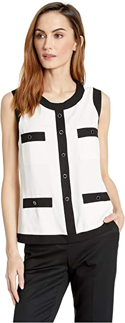 Side Zip Sleeveless Framed Blouse with Chest and Hip Pockets