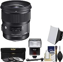 Sigma 24mm f/1.4 Art DG HSM Lens for Nikon DSLR Cameras with Flash + Soft Box & Diffuser + 3 UV/CPL/ND8 Filters + Kit