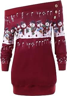 CharMma Women's Plus Size Skew Neck Christmas Snowman Music Note Sweatshirt