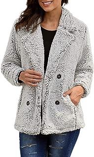 Womens Wool Coats Lapel Plush Jacket Oversized Jacket with Pockets Womens Winter Coats