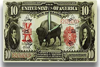Customized Lewis and Clark Money Clock United States Treasury Series 1901 American Bison 10 Dollar Banknote 8 x 12 inch Wall Clock Discovery Expedition