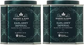 Harney & Son's Earl Grey Imperial Tea Tin 30 Sachets (2.35oz ea, Two Pack) - Historical Blend of Black Tea with Notes of Bergamot - 2 Pack 30ct Sachet Tins (60 Sachets)