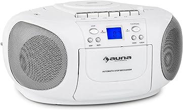 auna BoomBerry - CD-Radio , Minicadena , Radiocassette , CD/MP3 programable , Cassette , Radio FM , Puerto USB Compatible con MP3 , Entrada AUX , Pantalla LCD , Altavoces estéreo , Portátil , Blanco