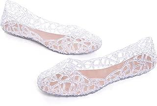 Women's Beach Jelly Shoes Slip on Crystal Summer Soft Hollow Ballet Flats