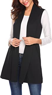 Beyove Women's Sleeveless Solid Color Asymmetric Hem Open Front Cardigan Vest Top