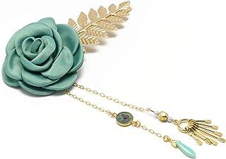 FIORE clip di capelli sposa accessorio parrucchiere verde perle d'acqua farfalla fiore foglia d'oro doni cerimonia ospiti ...