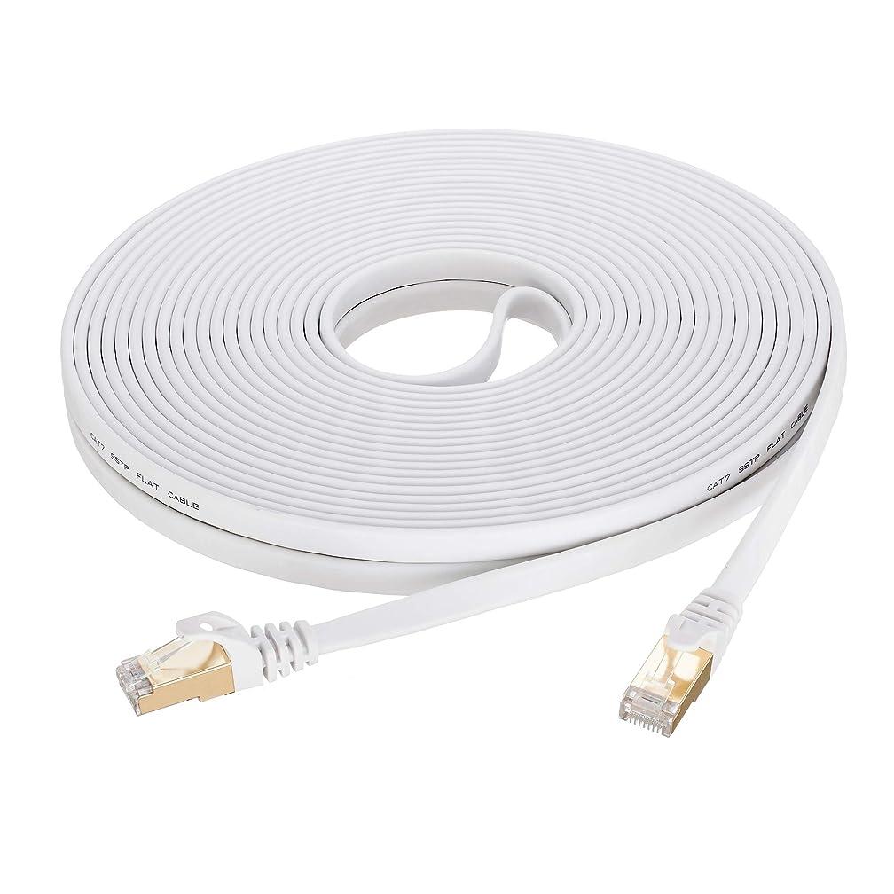 Cat 7 Ethernet Cable 30 ft White, SNANSHI Cat7 Flat Ethernet Patch Cables - Internet Cable Shielded RJ45 Connectors Compatible with Switch/Router/Modem/Patch Panel