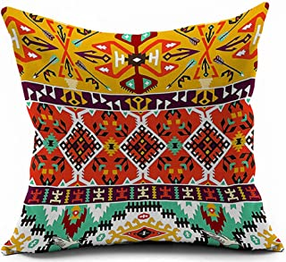 Andreannie Bohemian Colorful Stripes Geometric Flower Ethnic Boho Style Vivid Colors Cotton Linen Throw Pillow Case Cushio...