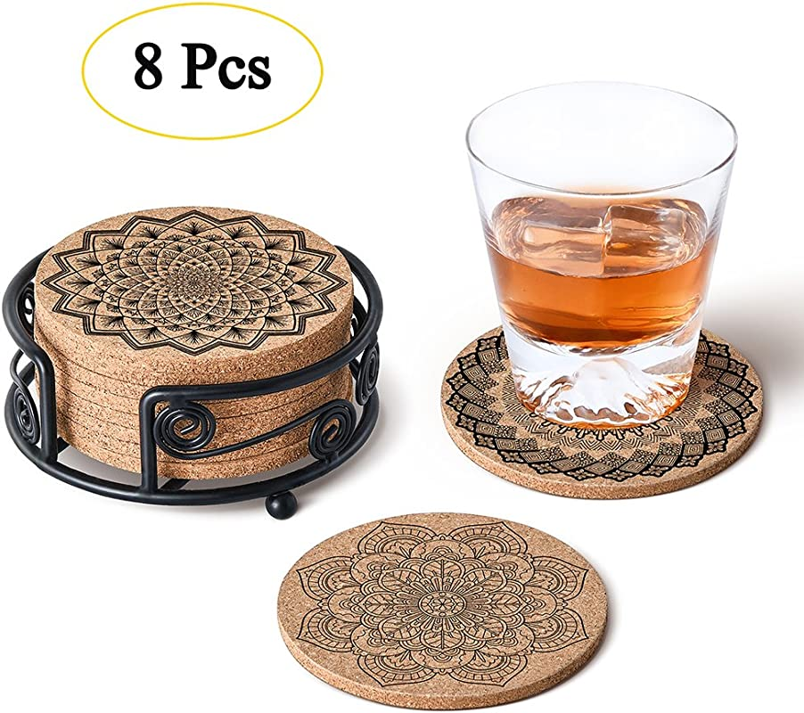 GALAROES Natural Cork Coasters With Metal Holder Set Of 8 Thick Absorbent Coaster For Drink Cups Mugs Present For Friends New Home Housewarming Gifts Living Room Decor Apartment Decor Holiday Party