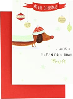 Sausage Dog - 4.5 x 6.25 Sparkle & Frost Christmas Card Box