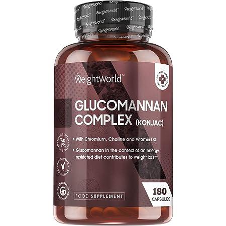 Konjac Glucomannane 95% Fibres - 180 Gélules Végétariennes Dosage Élevé 3000mg par Jour - Complexe Konjac + Vitamine D3, Chrome - Dans le Cadre d'un Régime Hypocalorique Aide à la Perte de Poids