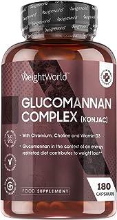 Glucomannan Konjac 3000 mg Complex - Natuurlijk glucomannan vezel supplement met chroom en vitamine D3-180 capsules - Vege...