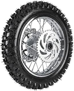 TDPRO Rear 3.00-12 1.85x12 Wheel With 12mm Bearing Axle 80/100-12 Tire Rim & Brake Disc Rotor and Sprocket For Dirt Pit Bike