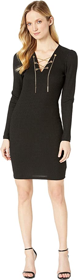 Rib V-Neck Puff Sleeve Dress