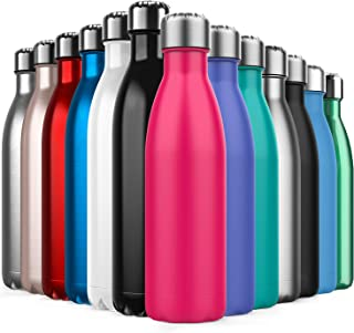 comprar comparacion BICASLOVE Botella de Agua de Acero Inoxidable,Diseño de Pared Doble,Boca Estándar,para Correr,Gimnasio,Yoga,Ciclismo