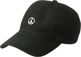 Men's Peace Sign Embroidered Adjustable Baseball Cap, Black, One Size
