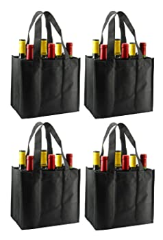 Reusable Non-Printed Wine Tote- 4 Pack  Black 6 Bottle