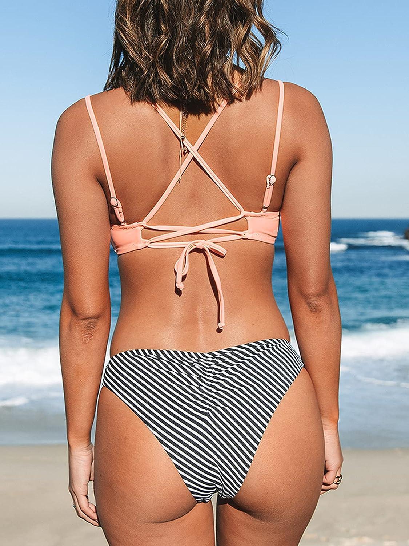 CUPSHE Women's Peachy Striped Lace Up High Leg Bikini Sets